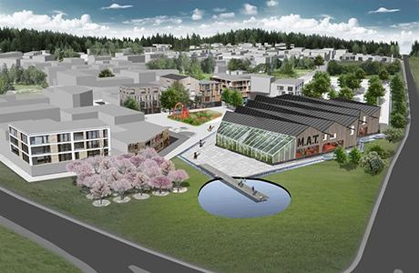 Norra Sigtuna stad med ny mötesplats för mat. Illustration - Strategisk arkitektur