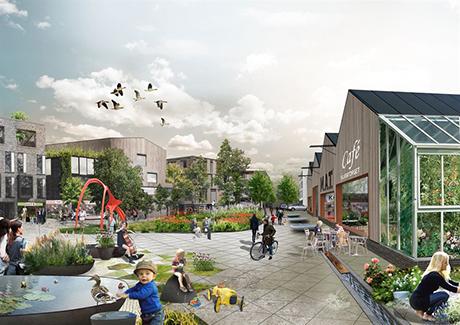 Torget intill den nya matmarknaden i Sigtuna. Illustration - Strategisk arkitektur